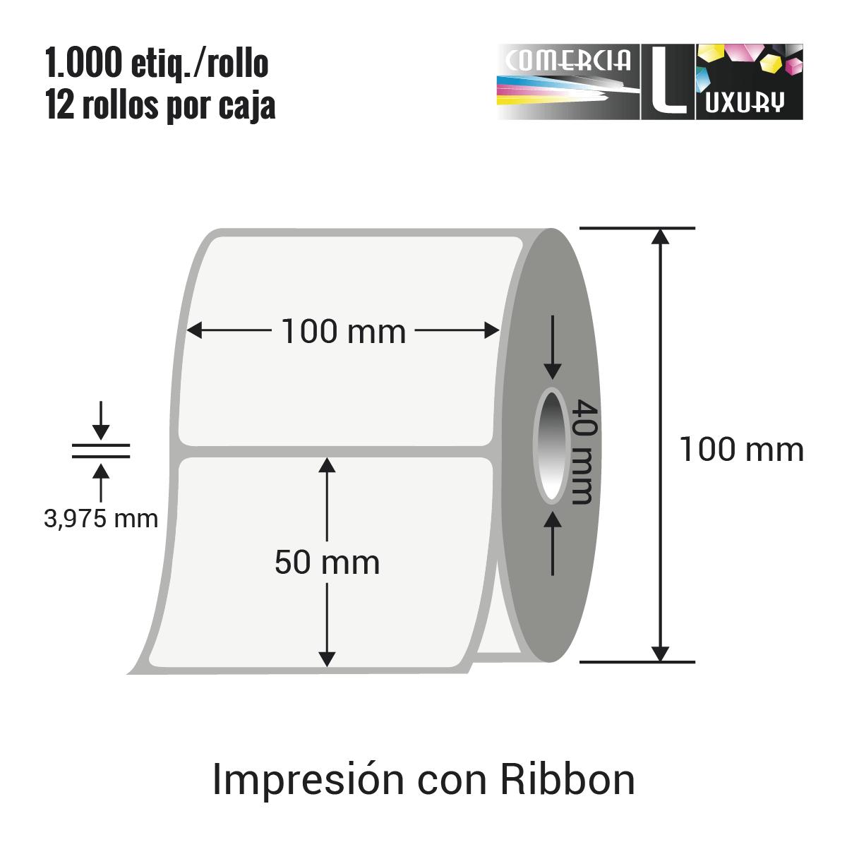 Etiqueta para Transferencia Térmica de 100 x 50 mm Ø40 mm con ribbon para impresoras industriales a la venta