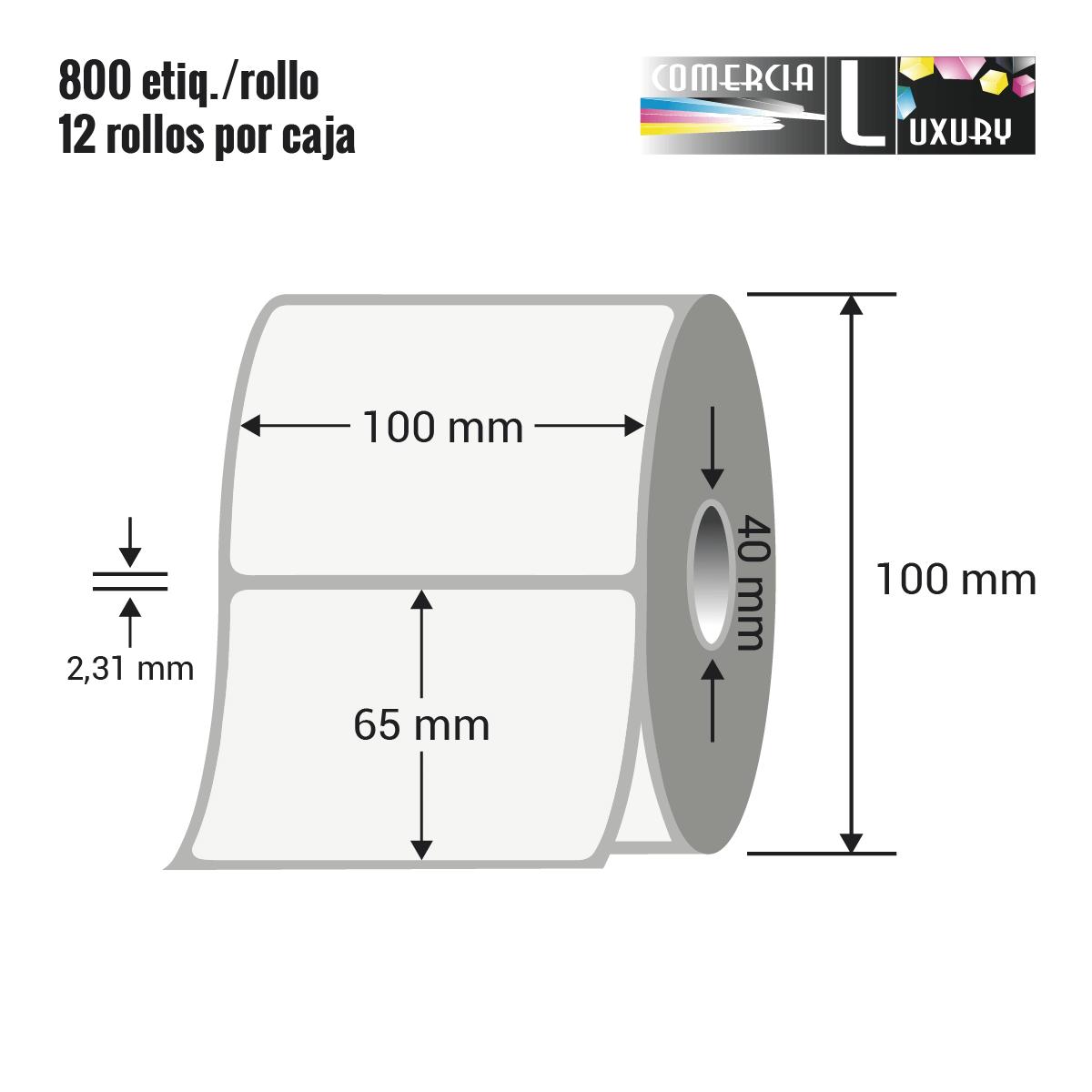 Etiqueta en rollo de papel termico para impresión sin ribbon de 100 x 65 mm Ø40 mm