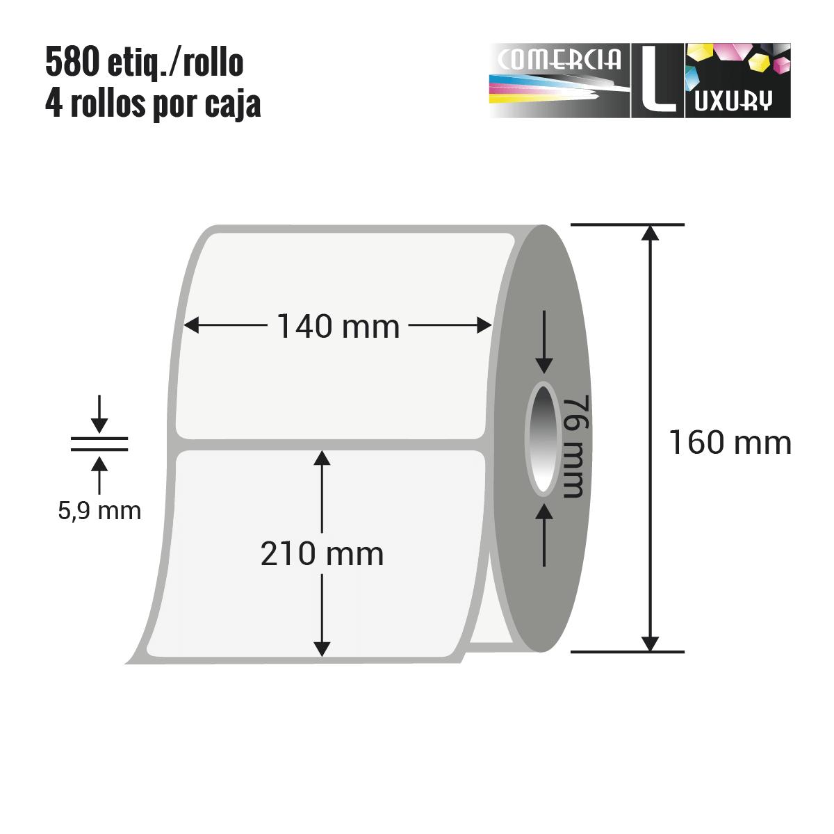 Etiqueta en rollo de papel termico para impresión sin ribbon de 140 x 210 mm Ø76 mm