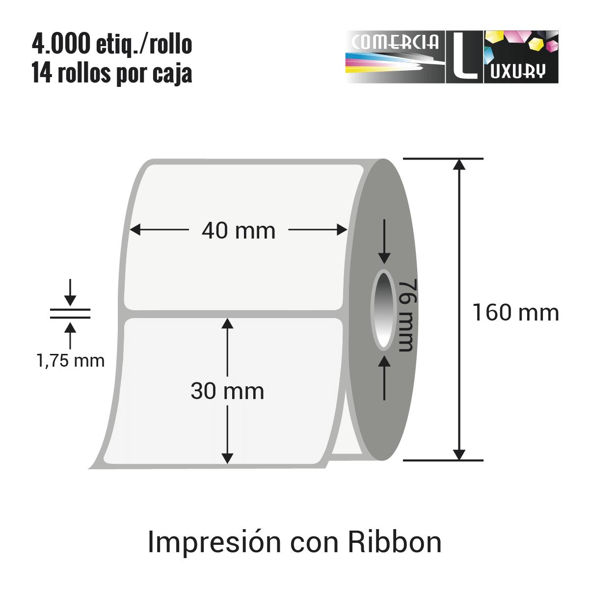Etiqueta para Transferencia Térmica de 40 x 30 mm Ø76 mm con ribbon para impresoras industriales a la venta