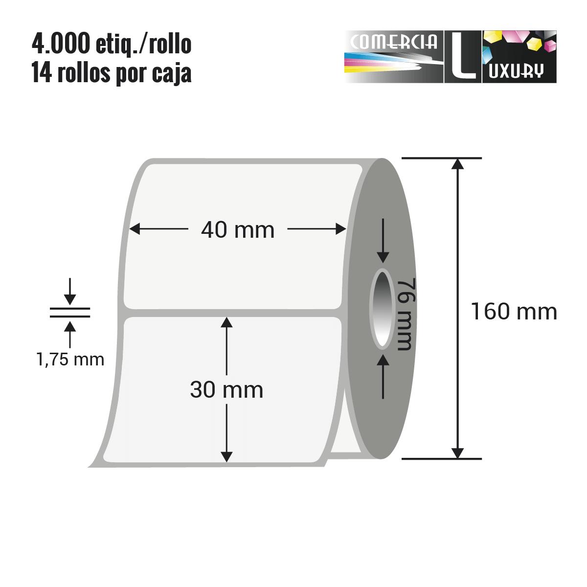 Etiqueta en rollo de papel termico para impresión sin ribbon de 40 x 30 mm Ø76 mm