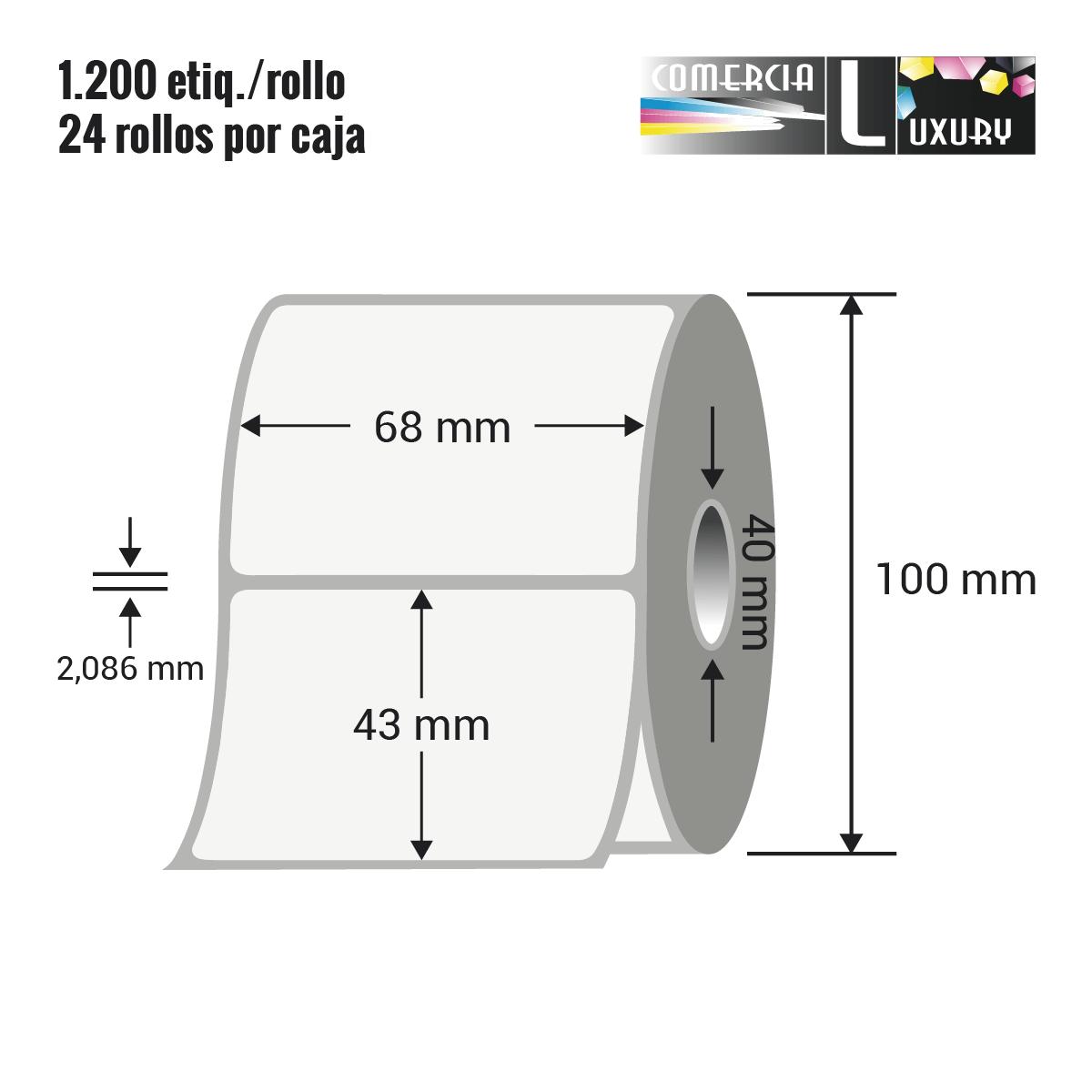 Etiqueta en rollo de papel termico para impresión sin ribbon de 68 x 43 mm Ø40 mm