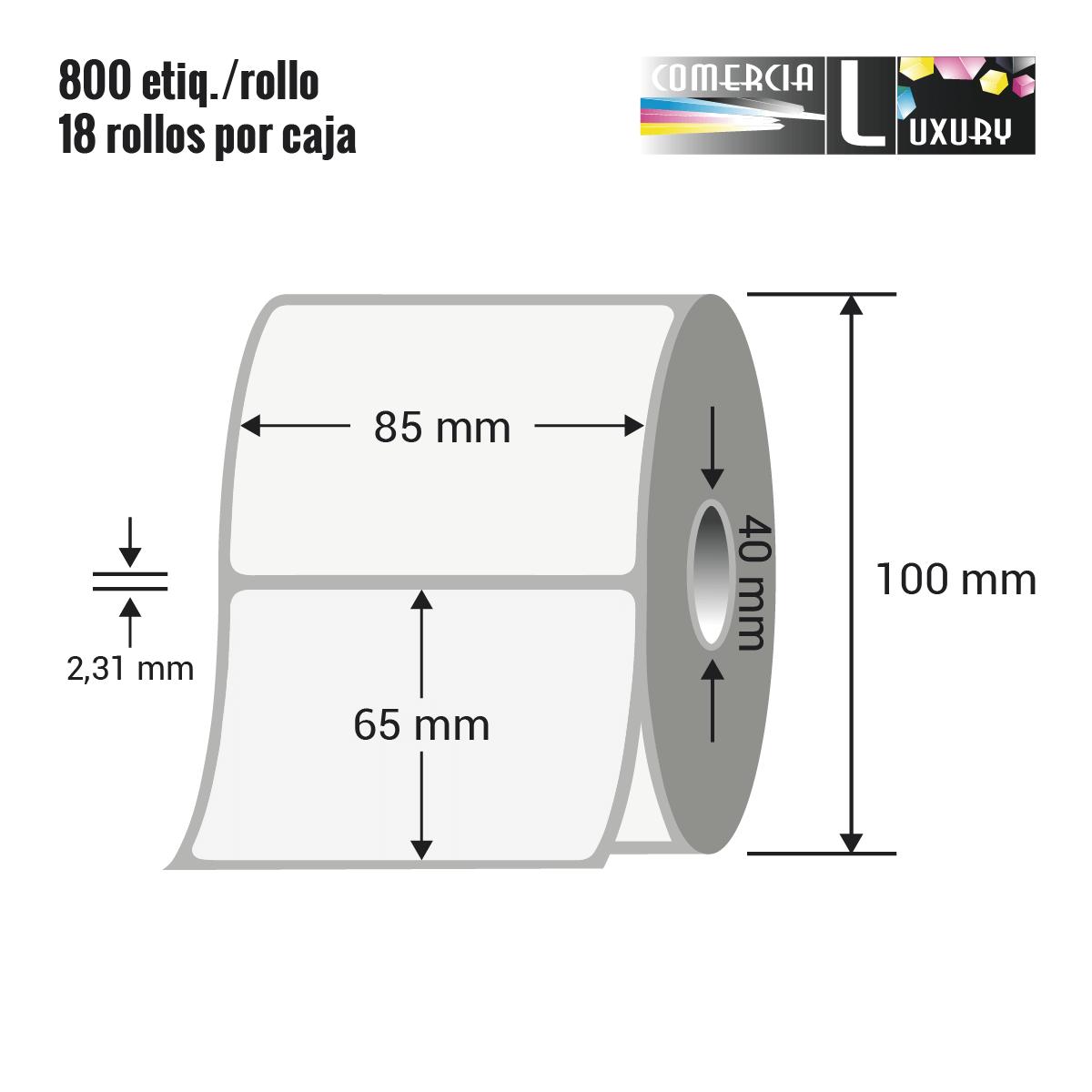 Etiqueta en rollo de papel termico para impresión sin ribbon de 85 x 65 mm Ø40 mm