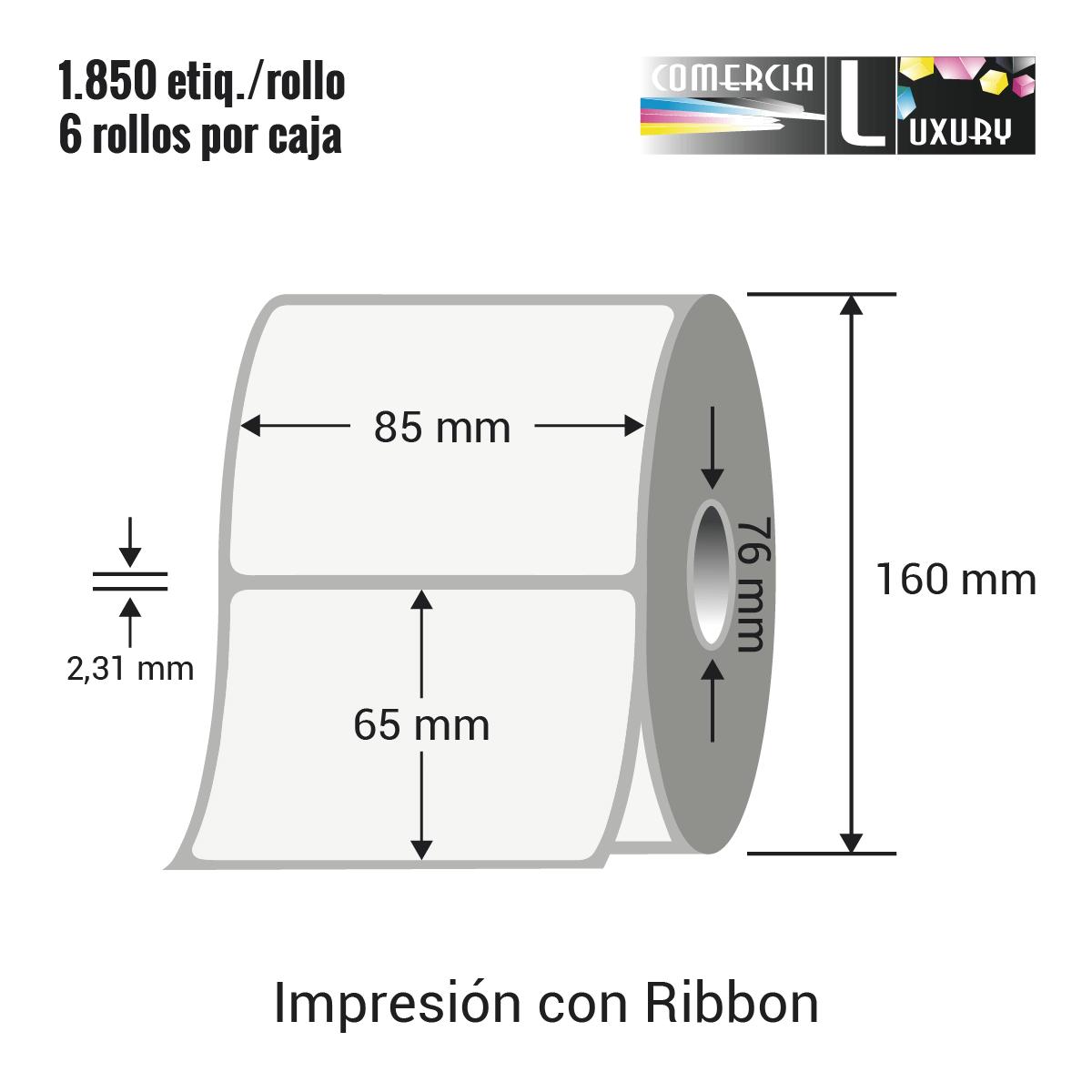 Etiqueta para Transferencia Térmica de 85 x 65 mm Ø76 mm con ribbon para impresoras industriales a la venta