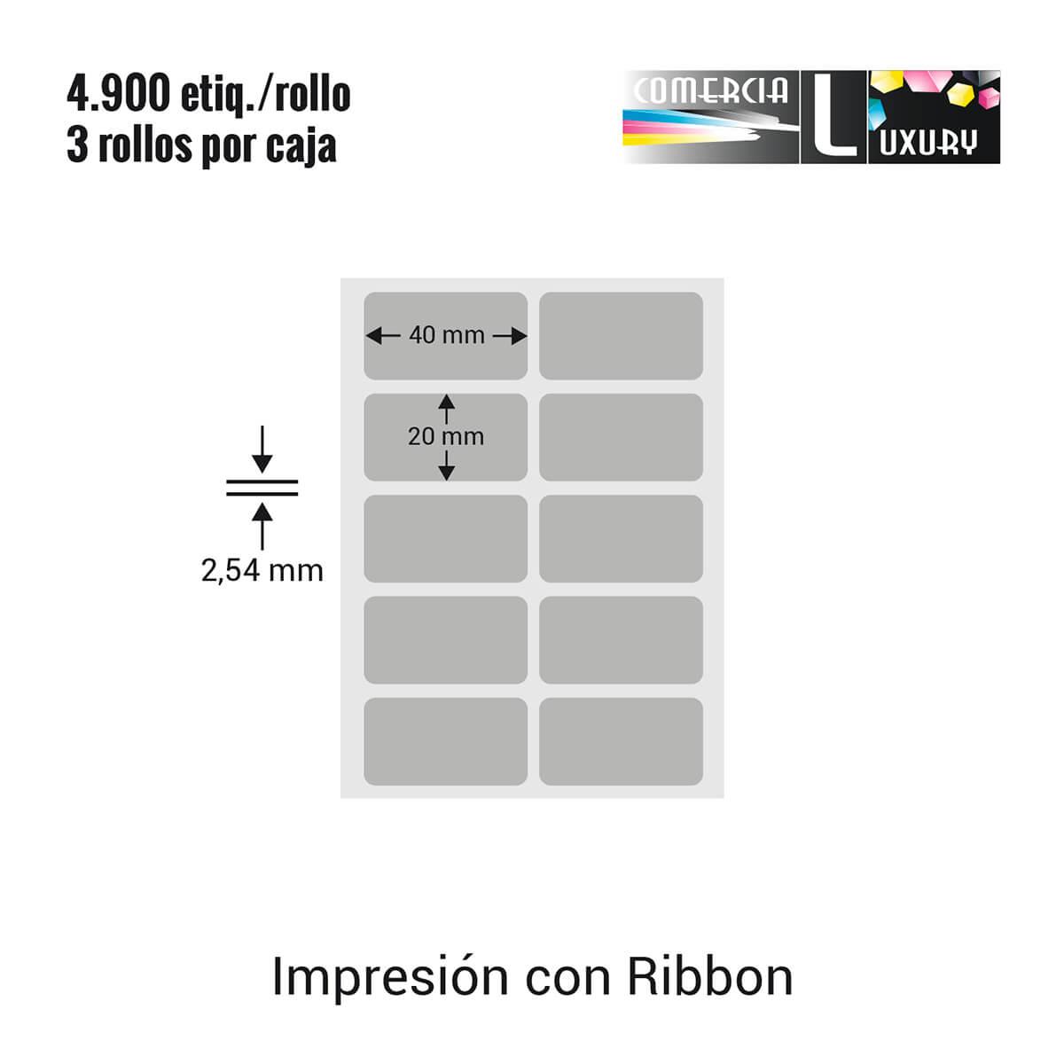 Etiqueta Adhesiva Poliester Plata para impresora industrial