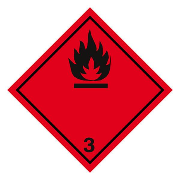 Etiqueta ADR de mercancías peligrosas clase 3