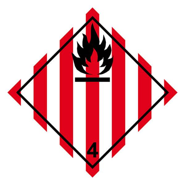 Etiqueta ADR de mercancías peligrosas clase 4_4.1