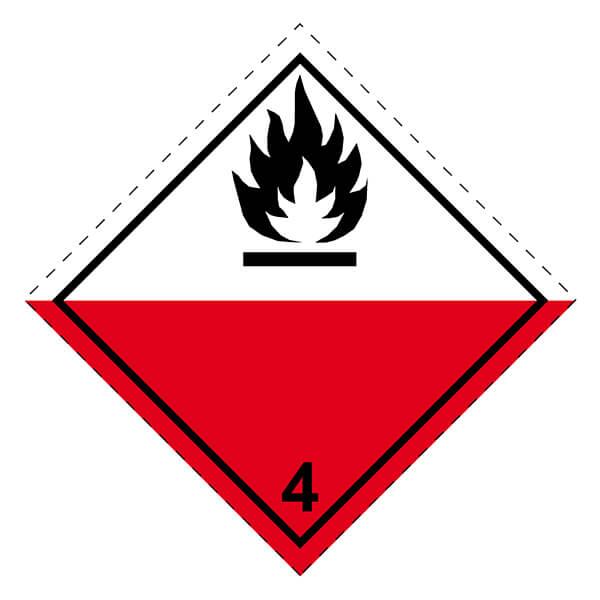Etiqueta ADR de mercancías peligrosas clase 4_4.2