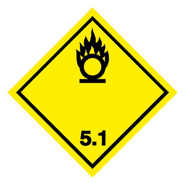Etiqueta ADR de mercancías peligrosas clase 5_5.1
