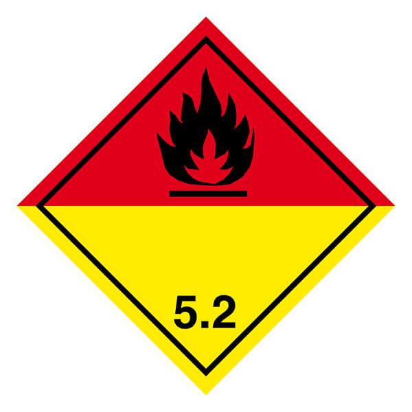 Etiqueta ADR de mercancías peligrosas clase 5_5.2