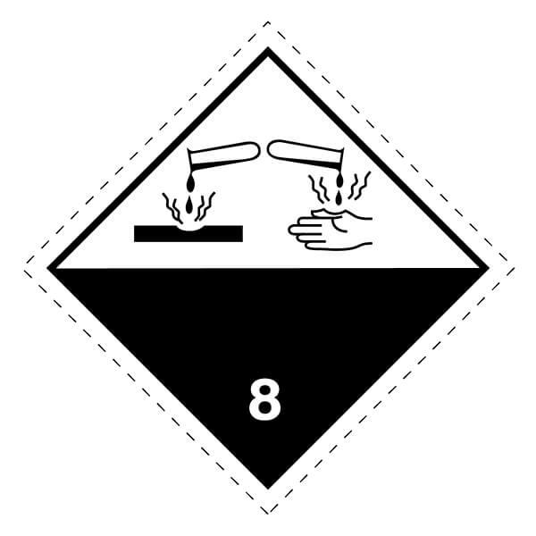 Etiqueta ADR de mercancías peligrosas clase 8