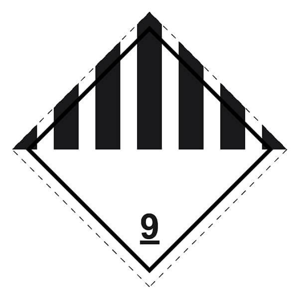 Etiqueta ADR de mercancías peligrosas clase 9 materias y objetos peligrosos diversos