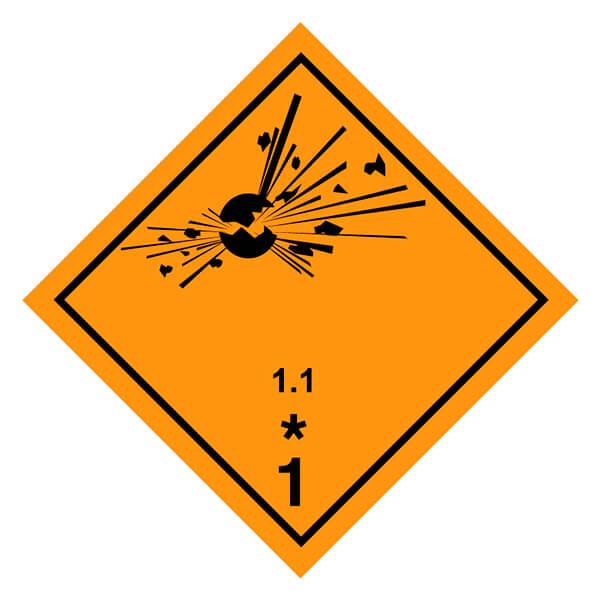 Etiqueta ADR 2019 de mercancías peligrosas clase 1 1.1 Materias y objetos explosivos