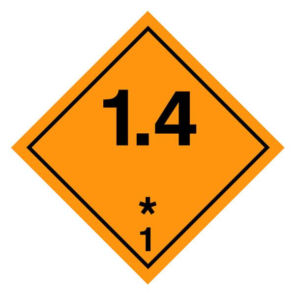 Etiqueta ADR 2019 de mercancías peligrosas clase 1 1.4 Materias y objetos explosivos