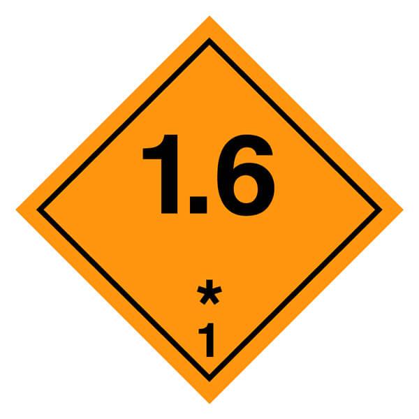 Etiqueta ADR 2019 de mercancías peligrosas clase 1 1.6 Materias y objetos explosivos