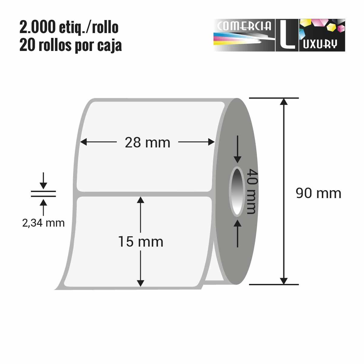 etiquetas térmicas 28x15 mm INT 40 mm